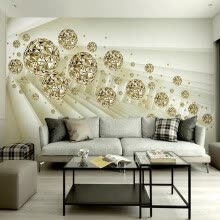 -Custom Photo Mural Wallpaper 3D Stereo Abstract Space Golden Ball Modern Fashion Interior Background Wall Decorative Painting on JD