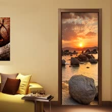 -Custom Mural Wall Paper Beautiful Sunset Landscape Door Mural DIY Sticker Living Room Bedroom PVC Waterproof Wallpaper 77cmx200cm on JD