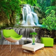 -Custom Wall Mural Photo Wall Paper 3D Green Forest Waterfall Natural Landscape Painting Non-woven Straw Textured Wallpaper Mural on JD