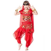 -Children Indian Dance 5-piece Set Costume Top, Belt, Pants and Head Pieces Coin Bracelets Bollywood Dance Costumes for Kids on JD