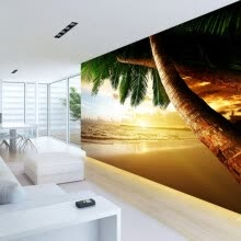 -Custom photo wallpaper large non-woven beach sunset seascape natural landscape mural wallpaper on JD