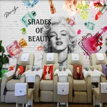 -Custom Mural Wallpaper 3D Fashion Brick Wall Cosmetics Painting Fresco Manicure Shop Clothing Store Backdrop 3D Art Wall Papers on JD