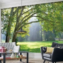 -Home Improvement Custom 3D Photo Wallpaper Three-dimensional Forest Scenery Living Room Background 3D Mural Fabric Wallpaper on JD