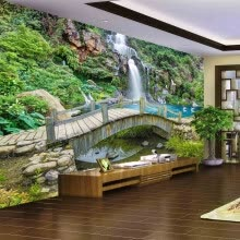 -Custom Any Size 3D Mural Wallpaper Small Bridge Running Water Waterfall Nature Landscape Photo Background Wall Papers Home Decor on JD