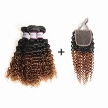 -Racily Hair Ombre Brazilian Kinky Curl Hair 3 Bundles with Lace Closure Color 1B 30 Black to Dark Brown Jerry Curly Human Hair on JD