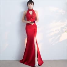 -Handmade Elegant Sleeveless Evening Dresses with Beading Sequined Bodice Long Prom Dress Party Gowns on JD