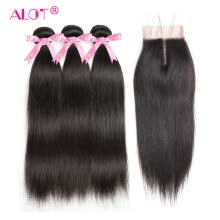 -Alot Hair Peruvian Straight Human Hair Bundles With Lace Closure Middle/Free/ Three Part Natural Black 3 Bundles Hair & Closure on JD