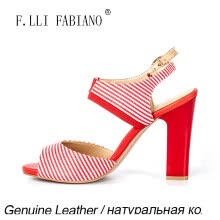 -F.LLI.FABIANO Simple Beautiful Summer Sandals Red Bottom High Heels Women Sandals Red and White Elastic Ankle Strap  on JD