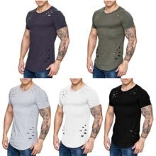 875061884-5 Colors Men Simple and comfortable T-shirts Muscle Brothers Short Sleeve Hole O-Neck Top shark Jersey on JD