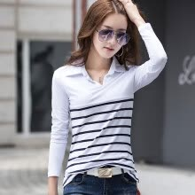 -2018 Spring and Autumn Ladies lapel POLO shirt T-shirt women striped cotton long-sleeved shirt on JD
