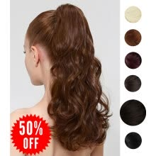 "ponytails-Rhyme Dark Brown 16"" 85g Curly Ponytail Wig Wrap Around Synthetic Hair Clip in Hair Extensions Long Natural Curly Wavy Hair piece on JD"