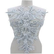 -Pure hand made silver/ivory sew on Rhinestones lace applique patches trimming 55*35cm for dress accessory on JD