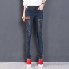 875061825-Korean New Style Women Applique Embroidery Jeans Spandex Ripped Hole Skinny Jeans High waist blue on JD
