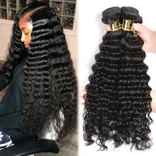 -YAVIDA Hair Brazilian Virgin Hair 4 Bundles Brazilian Deep Wave Virgin Hair Cheap Human Hair Weave Brazilian Curly Virgin Hair on JD