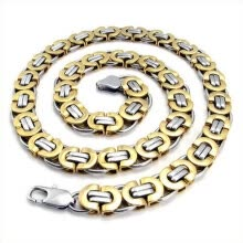 875062455-Hplow New Trendy Jewelry Men's Stainless Steel Casting Gold Silver Bicycle chain Mens Necklace Wholesale with Length 22 inch on JD