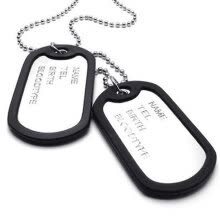 pendants-Hpolw NEW Men's Silver&Black Alloy Army Style 2pcs Dog Tag Pendant Mens Lettering Necklace Chain on JD