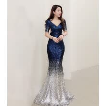 weddings-events-Evening dress female new celebrity banquet party birthday party dress was thin host dress long section on JD