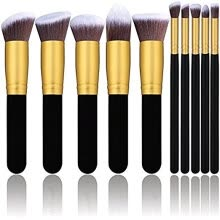 -Diow Makeup Brushes 10Pcs Gold Synthetic Kabuki Cosmetics Foundation Blending Blush Eyeliner Face Powder Makeup Brush Set Kit on JD