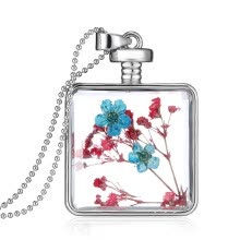 -Aiyaya Fashion Jewelry Blue Flower And Red Flower Bud Dry Pendant Necklace Chain For Teengirls on JD