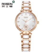 -Luxury Brand ROSDN Quartz Watch Women Rose Gold Ceramics Waterproof Stainless Steel Ladies Wrist Watches Montres Femme on JD