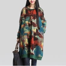-2018  Fashion Autumn Winter Plus Size Loose Dresses Plus Size Cotton Vintage Long Sleeve Dress  Long Sleeve  Casual for Girls Floral Print Bts Moletom Feminino on JD
