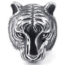 -Hpolw Mens New Design US&Europe Style Party Animal Fashion Big Tiger Ring For Men Heavy Metal Punk Animal Jewelry  Black Silver on JD