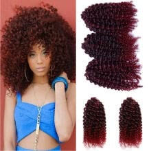 hair-bundles-Protea Hair 99J Burgundy Color Brazilian Kinky Curly Human Hair Extension Brazilian Remy Human Hair Weave 3 bundles a lot on JD