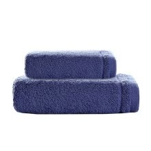 8750203-iDouillet Set of 2 100% Combed Cotton Bathroom Towel Set Hotel & Spa Collection Bath Towel 27'x55' Hand Towel 13'x29' Deep Blue on JD