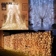 -JULELYS 10m x 2m 640 Bulbs LED Wedding Curtain Light Outdoor Christmas Garland String Lights Decoration For Hilday Party Garden on JD