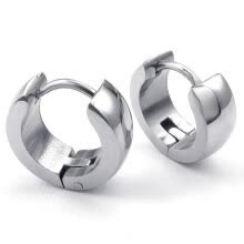 -Hpolw Mens Womens Stainless Steel Classic Plain Cambered Stud Huggie Hoop Earrings Set, Silver on JD