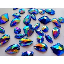 -Big promotion 300pcs mixed shape size sew on rhinestones deep blue AB colour Acrylic Crystal loose Beads hand sewing strass on JD