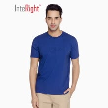 -INTERIGHT round neck T-shirt male net color PIMA cotton embossed short sleeve army green XXL on JD