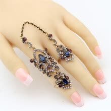 875062457-Vintage Turkish Women Flower Resin Adjustable Double Finger Ring Arabesque Crystal Jewelry Antique Gold Color Wedding Anillos on JD