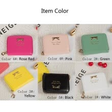 875071723-Fashion Women Coin Purses Bow Knot Zipper Leather Wallet Money Card Holder Bag on JD