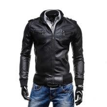 leather-faux-leather-Zogaa New Men's PU Leather Clothing Casual Stand Collar on JD