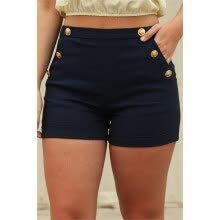 875061825-Women's Solid Shorts with Buttons on JD