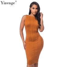 -Yizenge 2018 Fashion Summer Women Sweater Dress Без рукавов Bodycon Pullover Sexy Round Neck Bandage Slim Party Dresses on JD