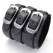 -Hpolw Black Genuine Leather/Alloy Mens Bangle Brand Fashion Punk Wide Cuff men Bracelet on JD