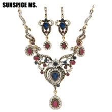 -Vintage Women Flower Antique Gold Color Jewelry Sets Turkish Resin Jewelry Drop Earrings Necklace Arabia Bridal Wedding Jewelry on JD