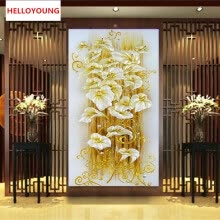 -DIY 5D diamond Painting crystal lily flower 3D Cross Stitch Decorative Needlework diamond mosaic diamond embroidery on JD