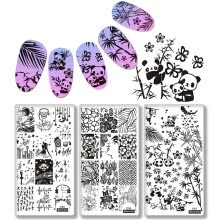 -10Pc New Nail Art Plate 6*12cm Nail Stamping Lace Flower Panda Animal Design Women Image Template Print Nail Art DIY Manicure on JD
