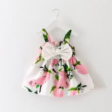 -Girl children's wear summer new south Korean fashion print big bow tie skirt. on JD