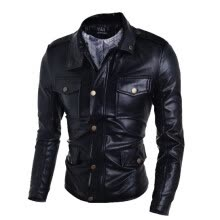 -Zogaa New Men's Leather Clothing Fashion Slim Short on JD
