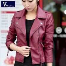 jackets-Women Jacket PU 2016 New Casual Jackets Women Black Leather Jacket Outerwear Coats Oblique Zipper Slim Motorcycle PU Jacket on JD