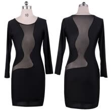 -Women Long Sleeve Sexy Sheer Mesh Bodycon Celebrity Dresses Party Evening Bandage Dress on JD