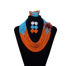 -Orange And Sky Blue Hand Made Women Beads Necklace 8 Rows African Wedding  Beads Crystal Jewelry Set Nigerian Bridal Jewelry on JD