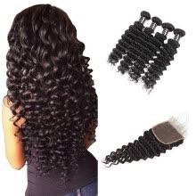 -Ishow Hair Brazilian Deep Wave With Baby Hair With Closure 7A Brazilian Virgin Hair 4Bundles With Closure Natural Color on JD