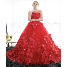 -Beautiful Sexy Plus Size Lace Colored Long Red Wedding Dresses Uk With Sleeve For Wedding Online Shop on JD