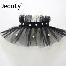 ties-handkerchiefs-JeouLy wholesale Chic Women Detachable shawls false collar beaded chiffon decorative collar lotus leaf fold high collar black on JD