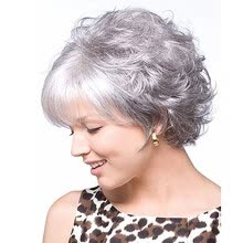 -QianBaiHui Wigs for Women Short Wig with Bangs Silver Gray Synthetic Hair Wigs Party Cosplay Wig with Wig Cap on JD